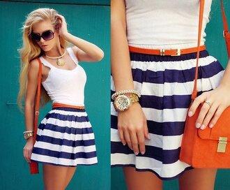 skirt stripes navy white striped skirt high waisted skirt dress purse sunglasses girl outfit beautiful summer necklace watch bracelets blue sailor blue and white striped belt glasses