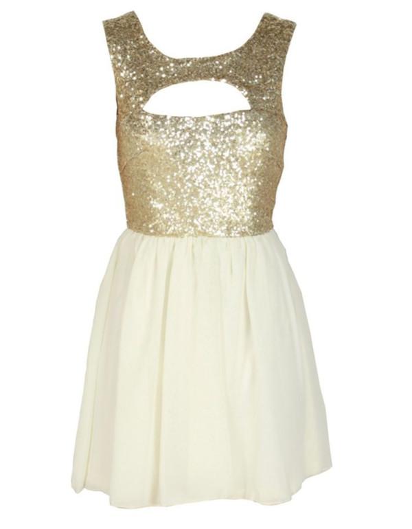 dress gold sequins sequin dress glitter dress beige dress cut offs cute dress