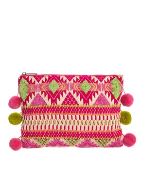 ASOS | ASOS Aztec Clutch Bag with Pom Poms at ASOS