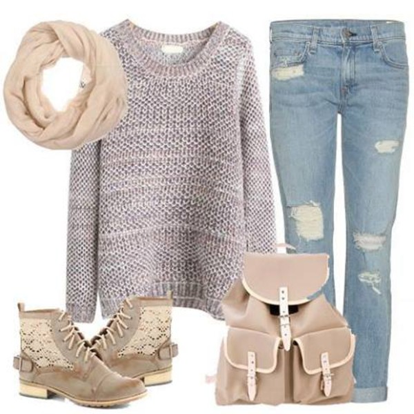 shoes boots beige shoes bag sweater jeans scarf