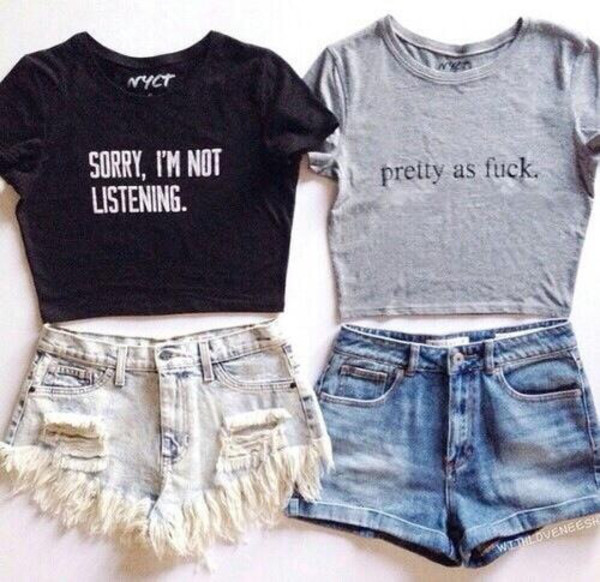 top clothes black top quote on it quote on it blogger tumblr clothes tumblr t-shirt crewneck girl shirts summer outfits summer top shorts crop tops grey black quote on it shirt boho grunge text tee