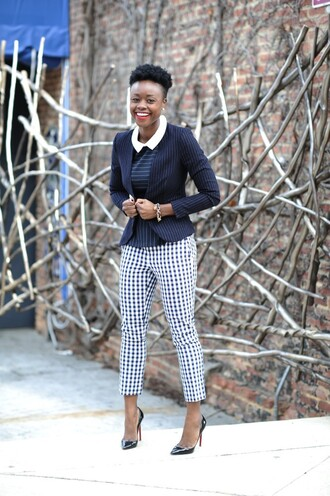 skinny hipster blogger gingham printed pants cropped pants blazer make-up shirt jacket pants shoes