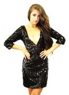 Black Sequin V Front 3/4 Sleeve Dress