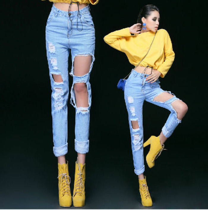Hot Womens High Waist Destroyed Motorcycle Pants Distressed Crop Ripped Jeans | eBay