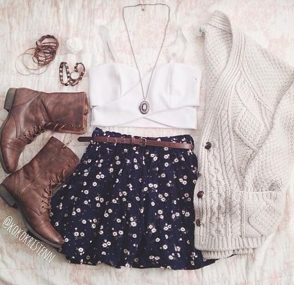 tank top skirt shoes jewels jacket belt sweater girl ootd navy blue daisy short short skirt denim shirt navy floral