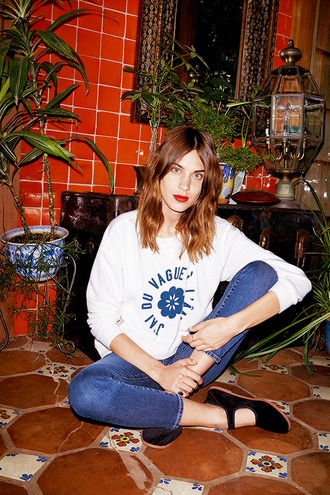 alexa chung mary jane flats cropped jeans printed sweater celebrity style