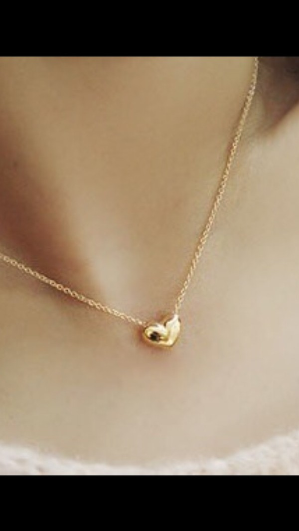 jewels heart necklace heart jewelry gold gold necklace cute small small necklace tumblr