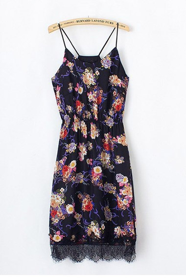 Sexy Floral Printing Lace Splicing Strappy Dress