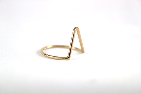 4PCS 1Set Gold Tone Shiny Cute V Shape Knuckle Ring Simple Midi Ring-in Rings from Jewelry on Aliexpress.com