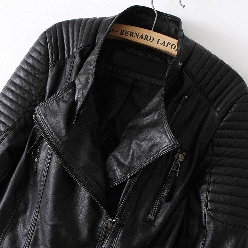 Black Long Sleeve Zipper PU Leather Jacket - Sheinside.com
