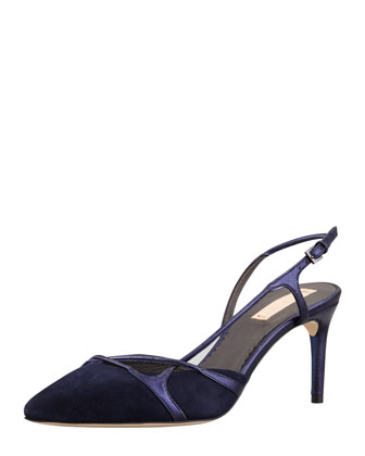 Tom Ford Suede Pointed-Toe Signature Pump, Cobalt - Bergdorf Goodman