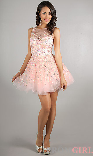 Dave and Johnny Sleeveless Short Sequin Prom Party Dress-PromGirl