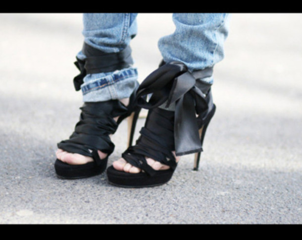 Shoes: black heels heels lace up laceup heels ribbon black