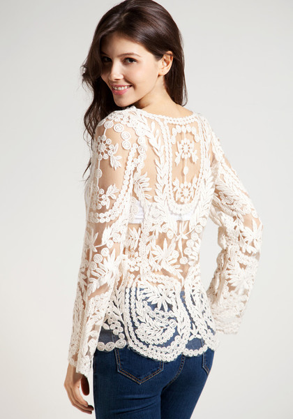 Hot Fashion Semi Sexy Sheer Sleeve Embroidery Floral Lace Crochet Blouses Vintage Top T Shirt on Luulla