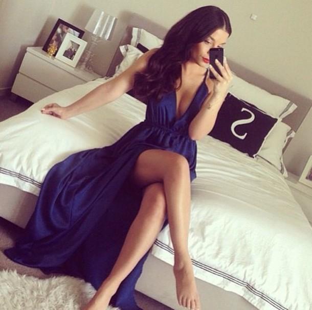 slit dress navy dress blue dress prom dress evening dress red carpet dress blue prom dress elegant dress chic ball gown dress robe hat royal blue gown