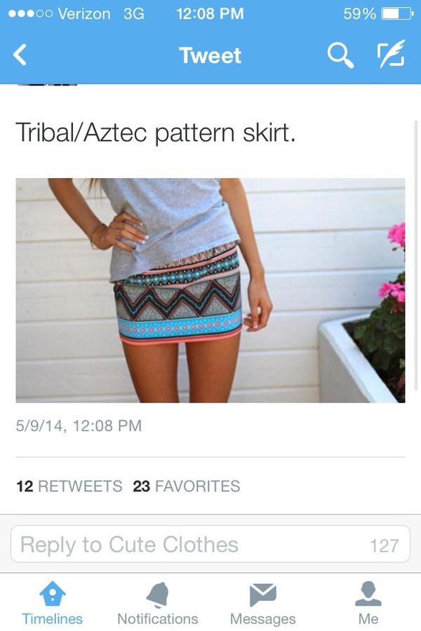 skirt aztec tribal pattern