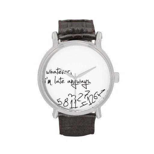 whatever, I'm late anyways - modern black & white Wrist Watch from Zazzle.com