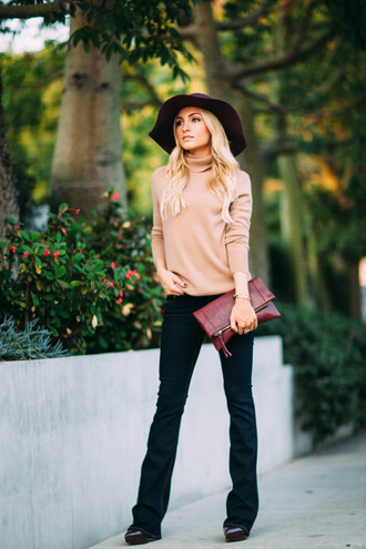 angel food blogger fall sweater turtleneck leather pouch camel felt hat floppy hat fall outfits