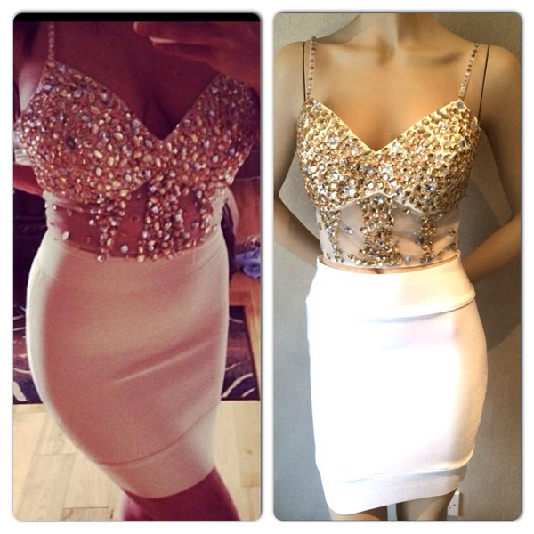 dress crystal two piece bralet crop top bandage skirt