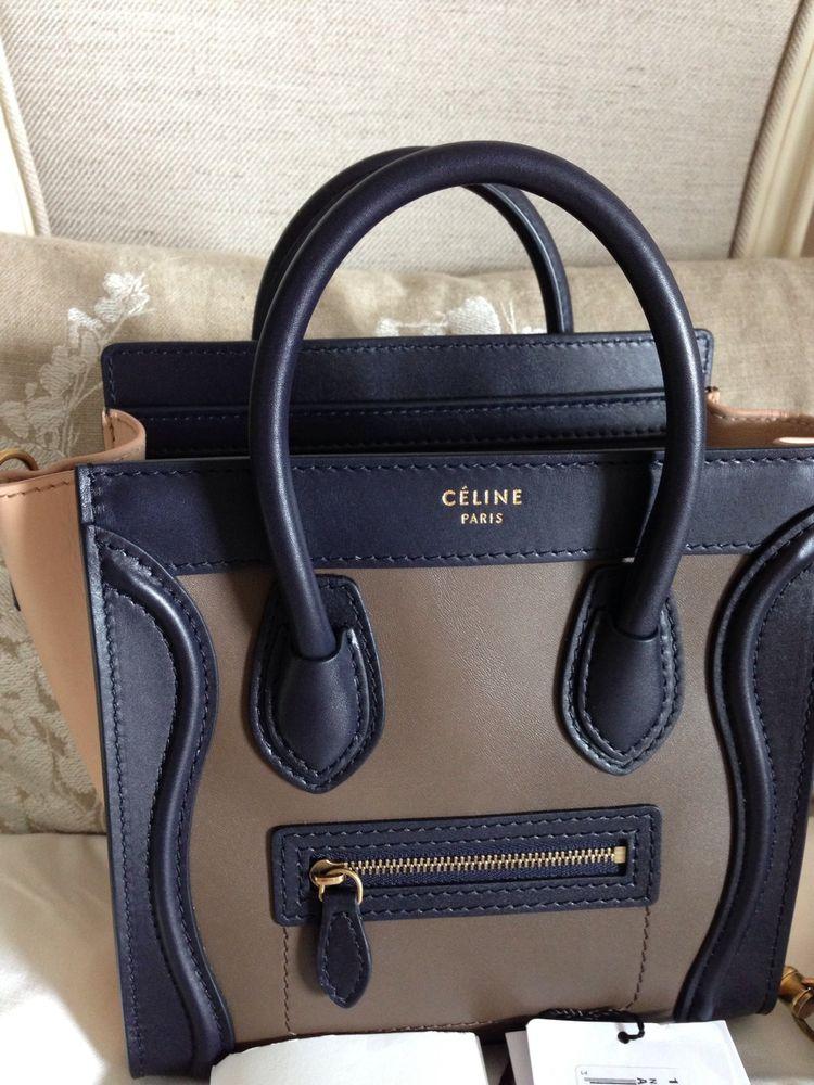 Authentic New Celine Small Nano Luggage Bag Tri Color Calf Leather Black Beige | eBay