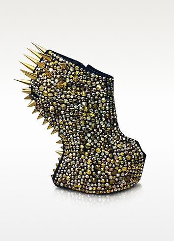 Giuseppe Zanotti Gaga - Spikes and Suede Wedge Bootie 5.5 US | 3 UK | 36 EU at FORZIERI