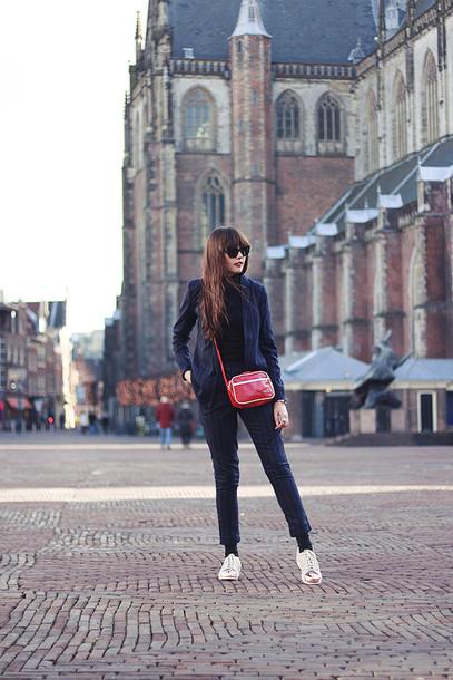 a dash of fash blogger pants sunglasses red bag