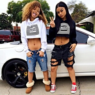 hoodie trill dope ripped shorts crystal westbrooks india westbrooks india love sneakers tumblr girl denim shorts peace sign black and white westbrooks car california baddies natural hair converse slippers shorts cropped hoodie curly hair red converse boots urban the westbrooks sweater these mixed chick hoodies mixed chicks crop tops cropped sweater distressed shorts spring shorts style shoes top shirt cropped jeans