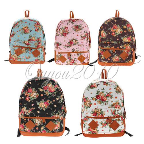 Hot Women Girl Student Fashion Vintage Cute Flower Schoolbag Campus Bag Backpack   eBay