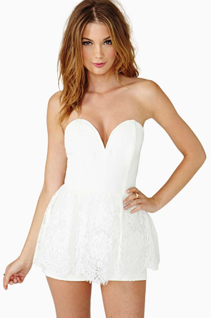 Sweetheart Laced Romper   Shop Sale at Nasty Gal