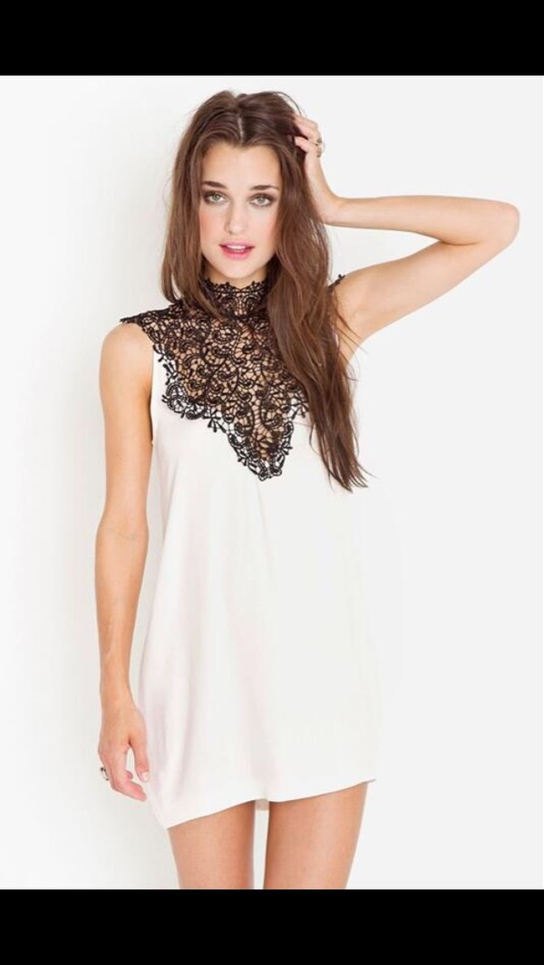 dress black and white black lace
