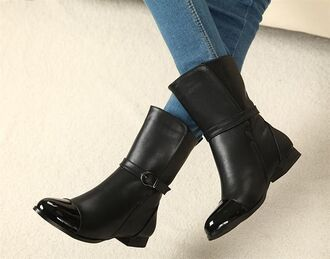 ankle boots low heels buckles
