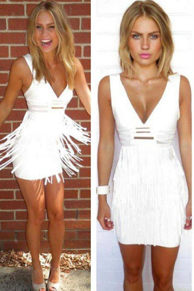 Deja Boutique. 'Lily' white fringe bandage dress