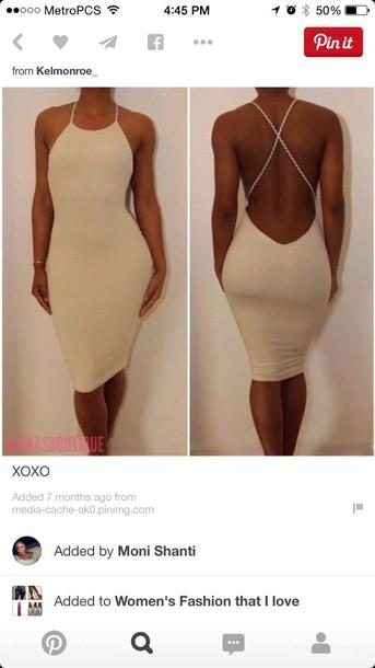 dress nude dress beige dress strappy dress solid
