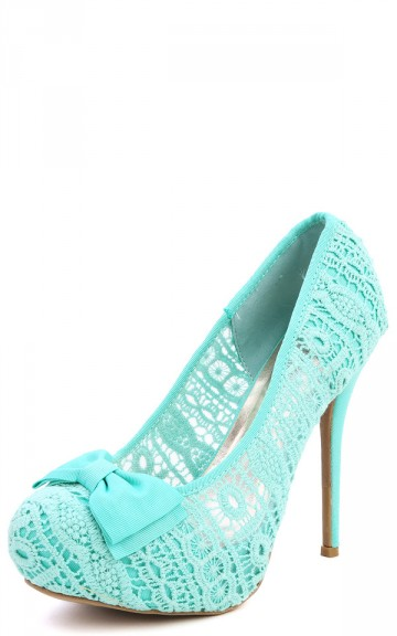 Wild Diva Lounge Sonny-73 Mint Bow Lace Platform Pumps and Shop Shoes at MakeMeChic.com