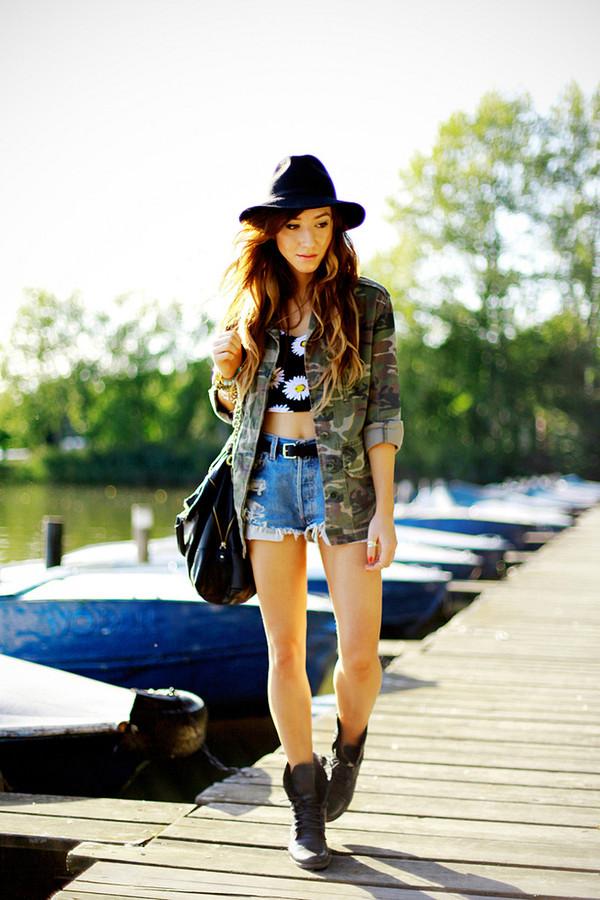 flirting with fashion jacket t-shirt shorts shoes belt hat sunglasses jewels