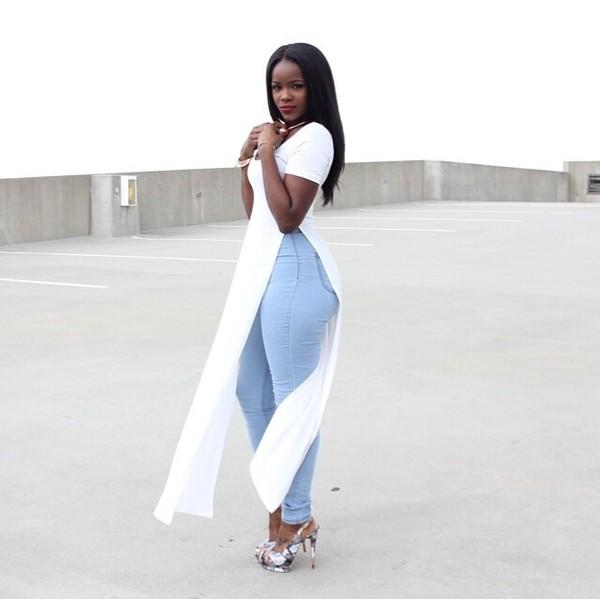 shirt blue jean pants long cut out sides shirt white long shirt long skirt white maxi dress