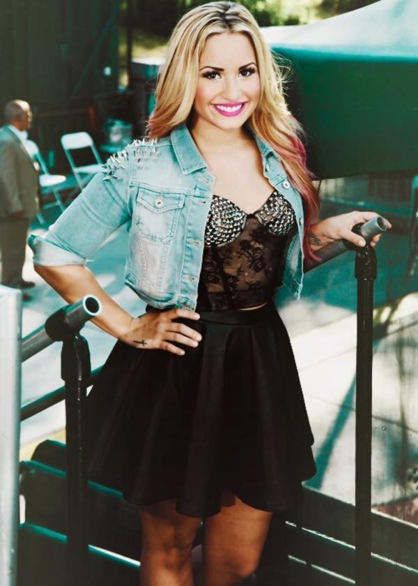 jacket demi lovato skirt shirt