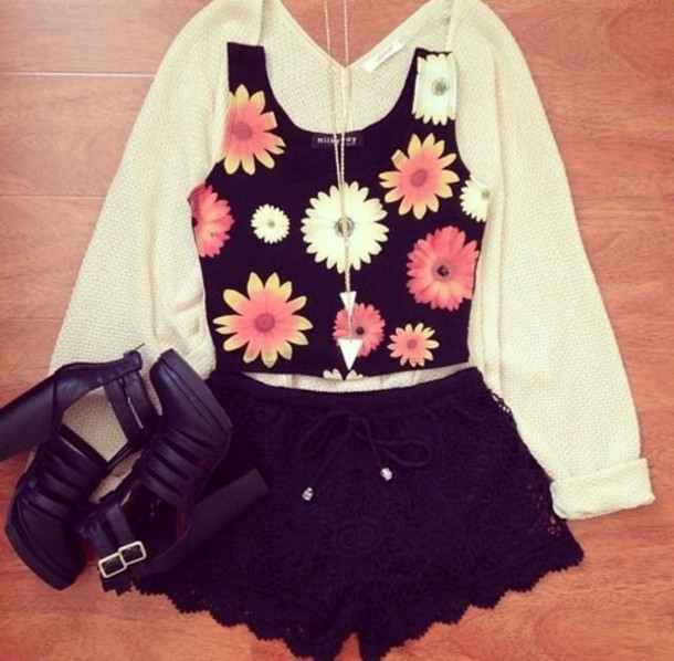 cardigan tank top shoes shorts
