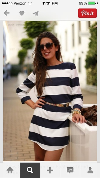 dress nautical striped dress white and blue dress white blue navy dress stripes navy belt gold belt horizontal stripes layer back short dress white dress long sleeves t-shirt dress spring dress black and white casual dress where did u get that mini dress blue and white long sleeve dress navy and white