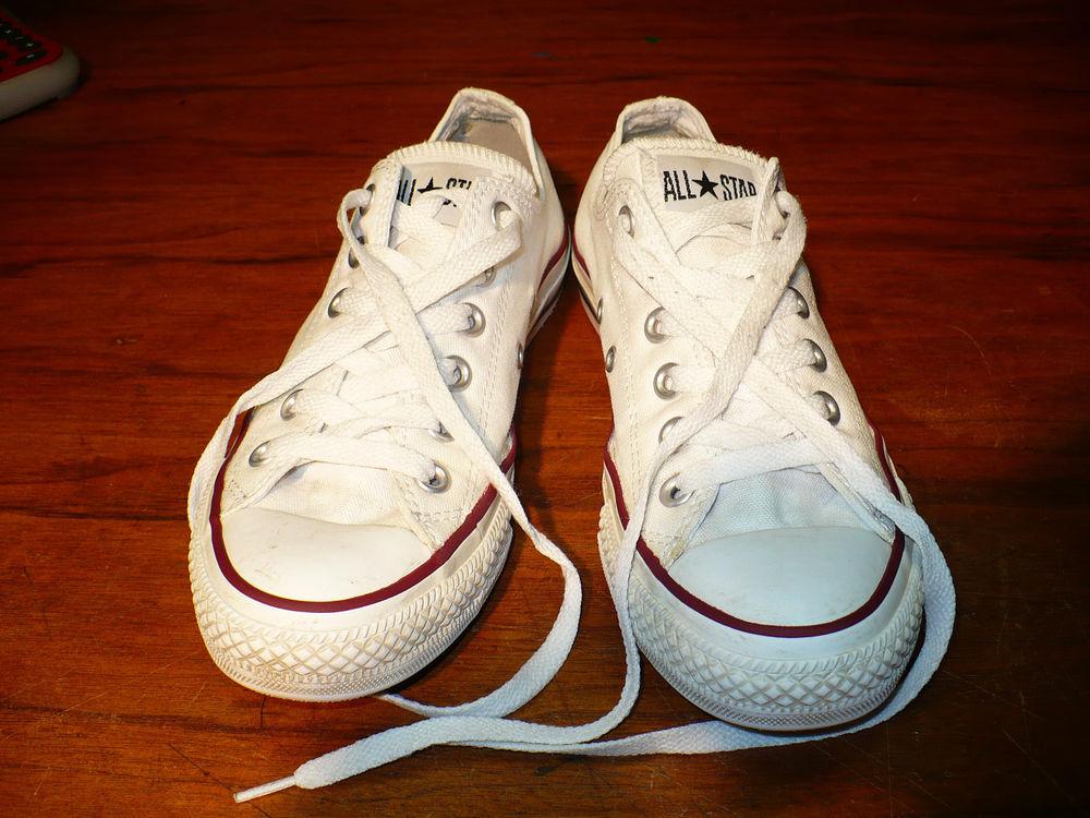 Classic White Low Cuts Converse All Star Chuck Taylors Chucks Sz Mens 5 w 7 | eBay