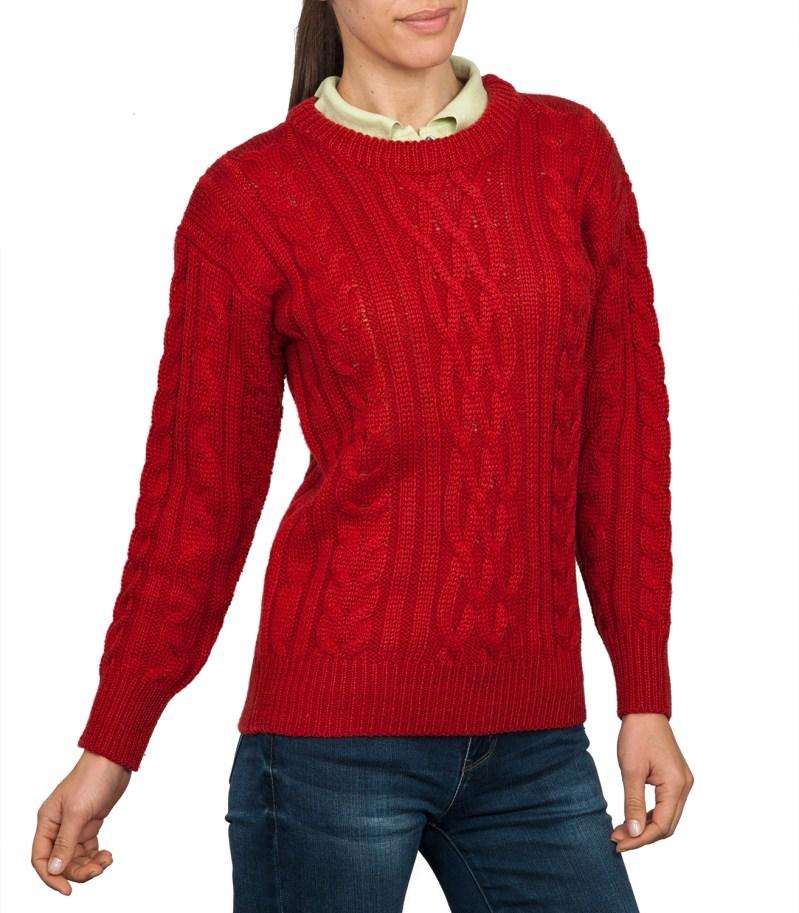 Red Aran Jumper   Arran Sweater   Wool Overs