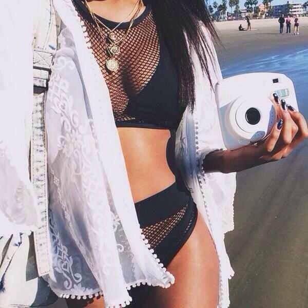 swimwear cardigan dope swimwear white jacket black bikini black black swimwear hookah jacket bikini net swimwear cover up necklace beach blouse swimwear jewels summer outfits swimwear swimwear summer