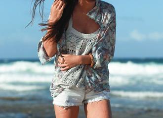 tank top cute girly cardigan floral blue crochet crochet top crochet tank top white crochet beach bracelets love jacket sweater summer spring pretty blazer