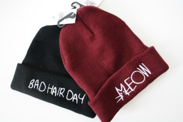 hat red bourgondy black beanie beanie meow badhairday beannies