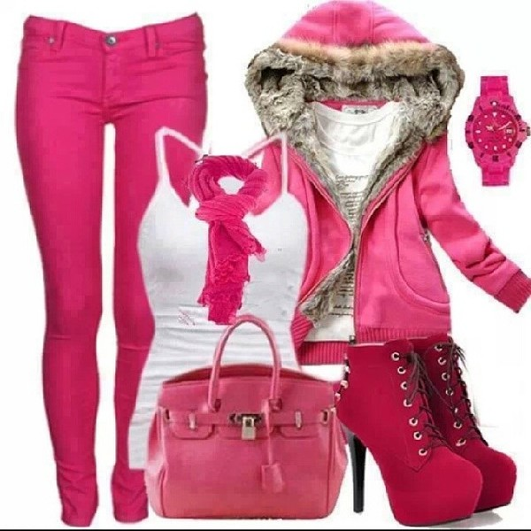 sweater pink fur fur jacket jeans scarf