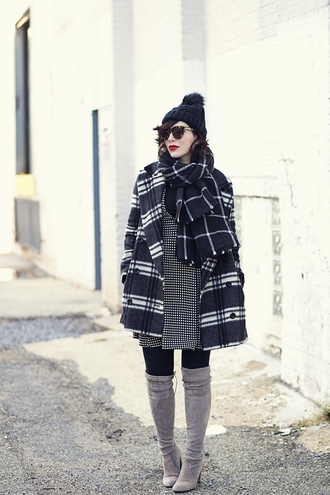 keiko lynn blogger dress sunglasses tartan winter coat winter outfits pom pom beanie thigh high boots sweater hat coat top shoes make-up