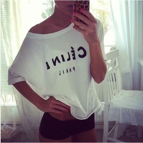 New 2014 Fashion T shirt for Women Printing loose T Shirt Women's White Black Shorts Tops & Tees  Free Shipping-inT-Shirts from Apparel & Accessories on Aliexpress.com