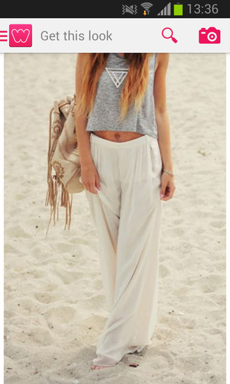 pants white beach backpack grey t-shirt glared flare summer blonde hair brown ombre casual