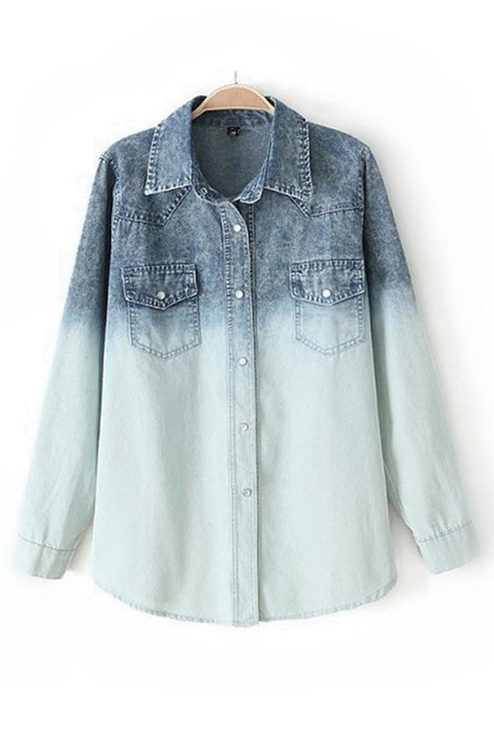 Cool Gradient Ramp Denim Shirt [FDBI00613] - PersunMall.com