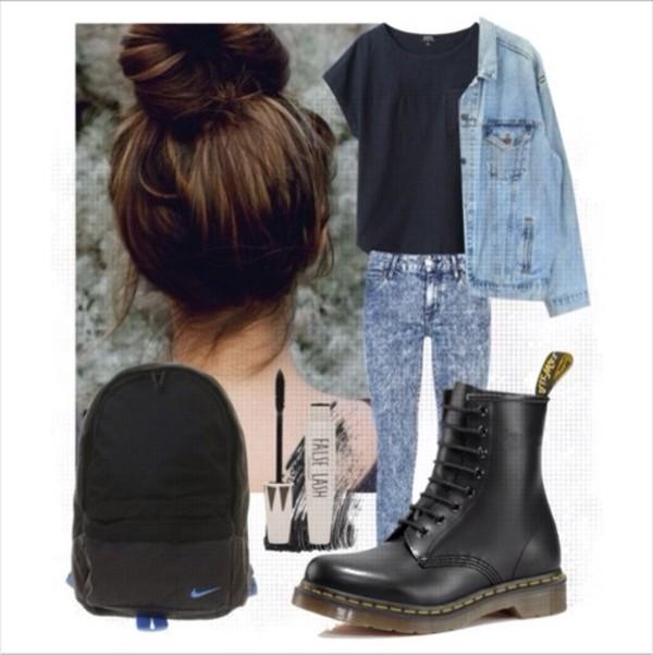 jacket denim jacket hipster grunge dark blue black shirt jeans DrMartens